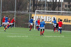 Pancratius zaterdag 7 januari met de tegenstanders Hoofddorp JO13-3 en Swift 14