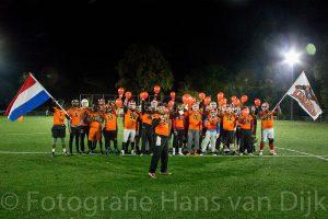 Football meets voetbal Laatste training van de Dutch Lions voor de wedstrijd tegen de Belgium Barbarians bij Pancratius